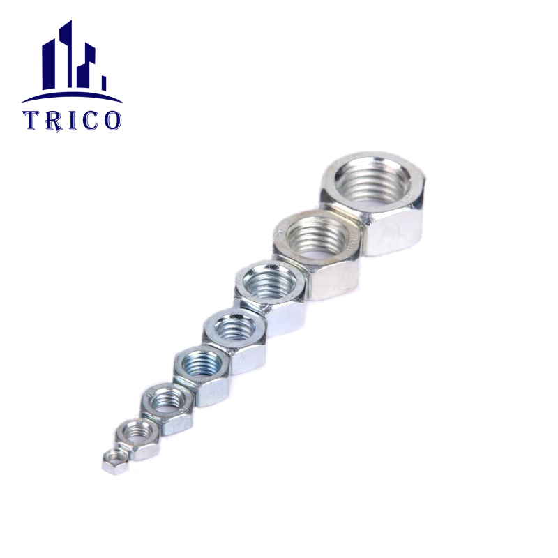 M12 full thread bar hex nut for wall concrete reinforcement