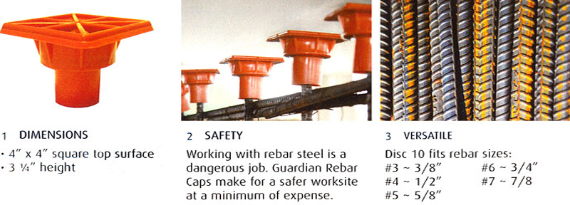 Plastic Rebar Cap with Steel Reinforced