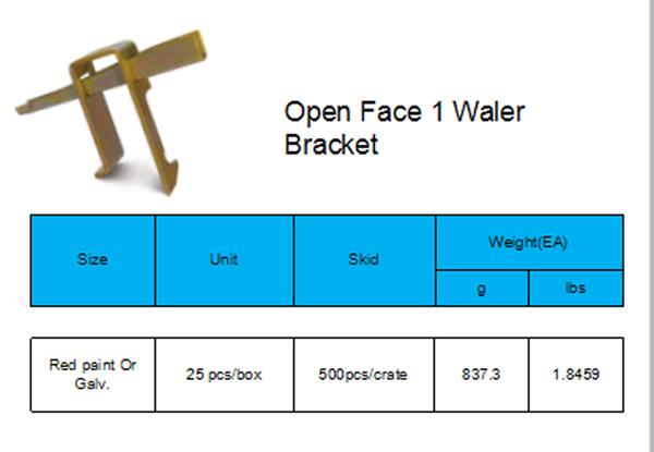 Open Face 1 PC Waler Bracket