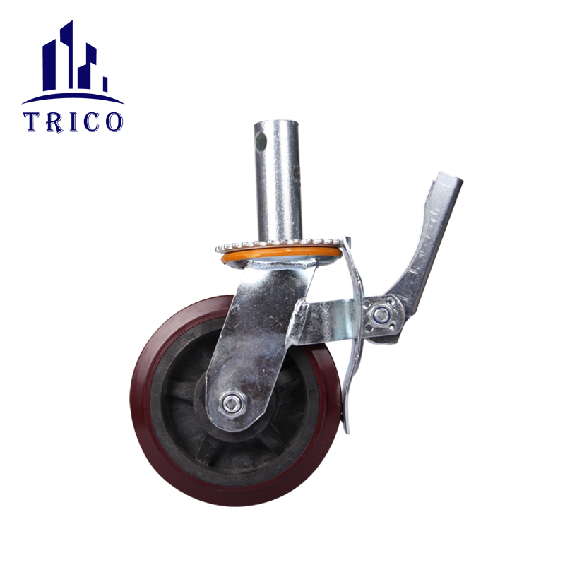 Adjustable 2 inch Iron Core Scaffolding Rubber Caster Wheel for Scaffolding