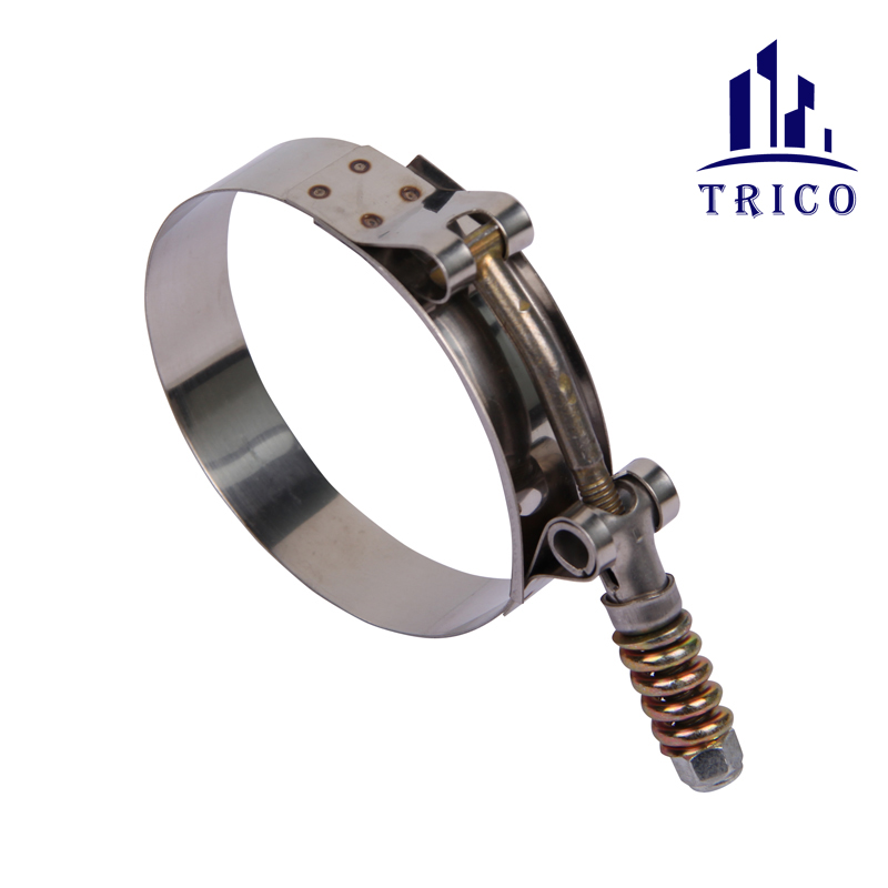 High Strength 19mm Bandwidth Stainless Steel and Carbon Steel T Bolt Spring Hose Clamp for Gas and Oil Ductwork Connection